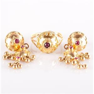 22k Yellow Gold Round Cut Lab Ruby Dangle Earring and Solitaire Ring Set .63ctw