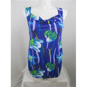 INC International Concepts Woman Size 2X Blue Flower Print Drape Neck Tank