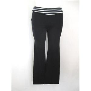 Migora Size X Cotton Yoga Pants w/ Black/White Stripe Fold Over Elastic Waist