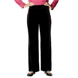 Susan Graver Size 3XP Stretch Velvet Wide Waistband Black Pants Petite Length