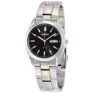 Seiko Watch SNE047 Mens Solar Day/Date. Two Tone Bracelet. Steel w/Glass Crystal