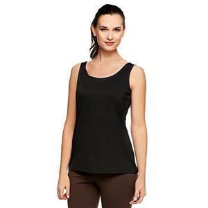 Susan Graver Essentials Size 1X Butterknit (Polyester) Layering Tank in Black