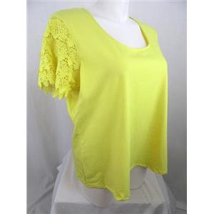 Liz Claiborne Size 2X Lemon Yellow Lace Short Sleeve Top