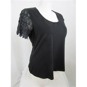 Liz Claiborne Size 2X Black Lace Short Sleeve Top