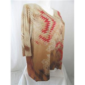 Catherines Size 3X Aztec Print Sublimation Polyester Embellished Top in Brown
