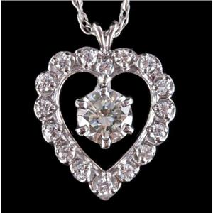 Vintage 1950's 14k White Gold Round Cut Diamond Heart Pendant W/ Chain 2.04ctw