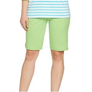 Quacker Factory Size 2X Lime Pull-on Style Cotton/Polyester Shorts