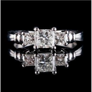 Platinum Princess Cut Three-Stone Diamond Engagement Ring 3.35ctw