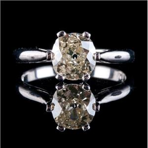 Vintage Early 1800's 14k White Gold Diamond Solitaire Engagement Ring 1.40ct