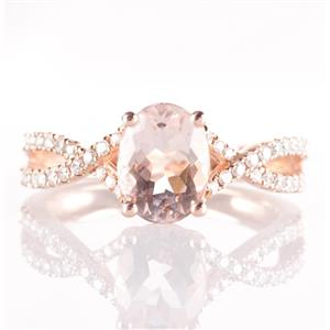 10k Rose Gold Oval Cut Morganite Solitaire Ring W/ Diamond Accents 1.32ctw