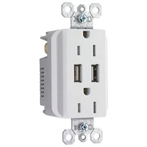 Legrand Pass & Seymour TR5362USBW White 20A Duplex outlet with USB Charger 10pk