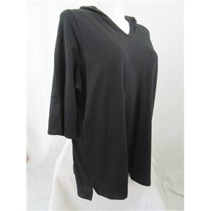 Denim & Co. Active Size 1X Black French Terry Tunic w/ Hood and Pockets