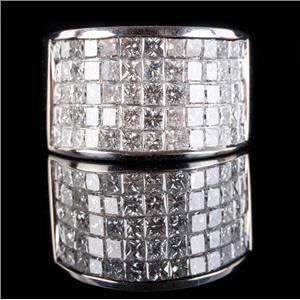 18k White Gold Princess Cut Diamond Invisible Set Wedding Ring 2.60ctw