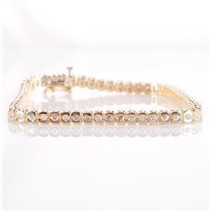 14k Yellow Gold Round Cut Half Bezeled Diamond Tennis Bracelet 1.62ctw