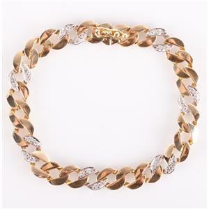 14k Yellow & White Gold Two-Tone Round Cut Diamond Figaro Bracelet .42ctw