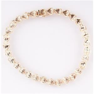 """14k Yellow Gold Filigree Style Heart Bracelet 5.6g 7.5"""" Length"""