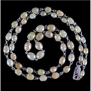 18k White Gold Briolette Cut Carbonado Diamond Necklace 33.2ctw