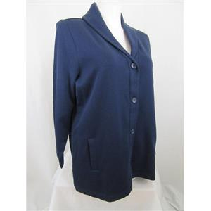 Denim & Co. Size 2X Navy Long Sleeve Button Front Shawl Collar Knit Jacket