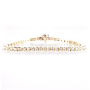 14k Yellow Gold Round Cut Diamond Tennis Bracelet 1.83ctw