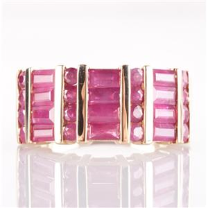 10k Yellow Gold Baguette & Round Cut Ruby Bar Set Cocktail Ring 2.18ctw
