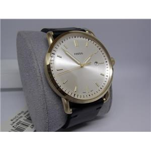 Fossil Watch FS5387 Mens Gold Tone, Date, Black Leather Strap. Glass Crystal