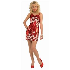 Women's Racy Red Sequin Merry Christmas Costume Party Dress Standard Size 6-14