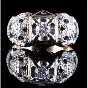 Men's 14k Yellow & 10k White Gold Diamond Scottish Rite Masonic Ring .40ctw