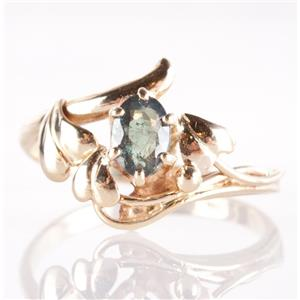 14k Yellow Gold Oval Cut Natural Alexandrite Solitaire Ring .51ct