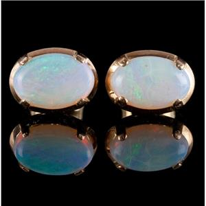 Vintage 1950's 14k Yellow Gold Oval Cabochon Cut Opal Stud Earrings 3.08ctw