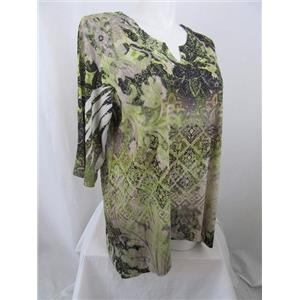 Catherines 2X Olive Print Embellished Notched Neckline w/Lace Overlay Top