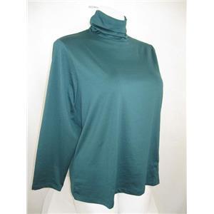 Susan Graver Essentials Size 2X Dark Green Butterknit Ruched Turtleneck