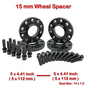 4 pcs 15mm 5 Studs 14 x 1.5 PCD 5 x 112 to 5 x 112 mm Wheel Spacer Spacers