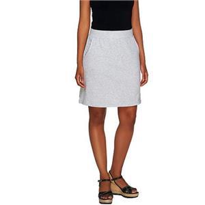 Denim & Co. Size 2X Lt Heather Grey Essentials Pull-On Knit Skort with Pockets