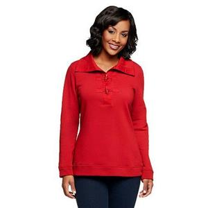 Denim & Co. Size 1X Claret Red Long Sleeve Sweatshirt w/Shawl Collar and Toggles