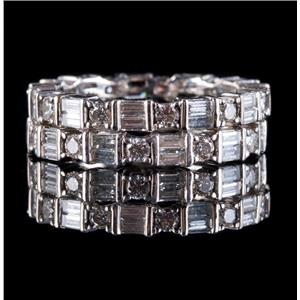 18k White Gold Baguette & Round Diamond Stackable Eternity Wedding Bands 1.80ctw