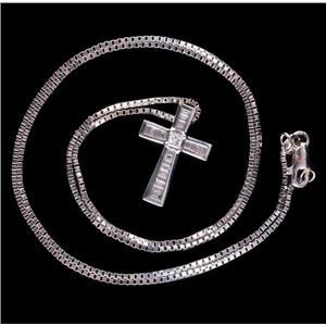 "14k White Gold Baguette & Princess Cut Diamond Cross Pendant W/ 18"" Chain .50ctw"