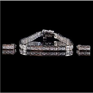 14k White Gold Round Cut Diamond Tennis Bracelet / Earring Set 4.48ctw