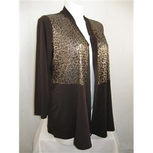Susan Graver Size 1X Liquid Knit Cardigan w/Mesh & Sequin Embellishment Dk Brown
