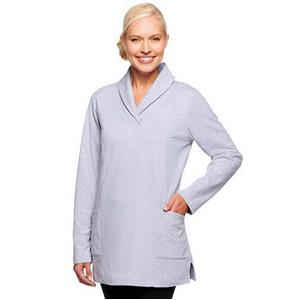 Denim & Co. Active Size 3X Heather Grey Knit Long Sleeve Shawl Collar Tunic