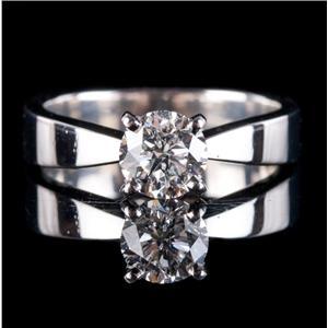 Platinum Round Brilliant Cut Diamond Solitaire Engagement Ring 1.01ct