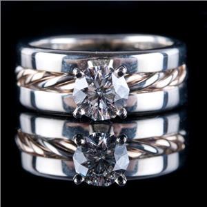 14k Tri-Color Gold Decagonal Cut Diamond Solitaire Engagement Ring 1.04ct