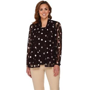 Susan Graver Size 1X Brown Polka Dot Stretch Lace Cardigan Set A276429