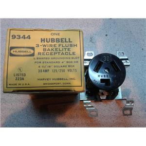 Hubbell 9344 3 Wire Flush Bake Lite Receptacle