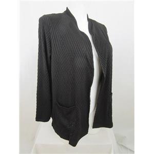 Susan Graver Size 1X Black Textured Knit Long Sleeve Cardigan
