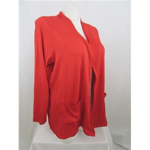 Susan Graver Size 1X Poppy Red Textured Knit Long Sleeve Cardigan