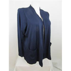 Susan Graver Size 2X Navy Textured Knit Long Sleeve Cardigan