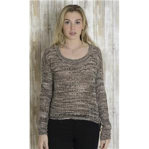 M Kensie Loose Knit Cropped Length Hi-Low Sweater Top Marbled Brown/White/Black
