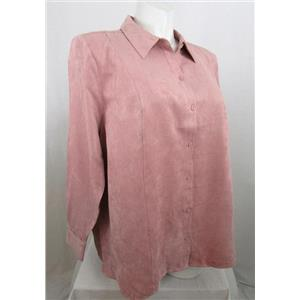 Catherines Size 3X Pale Pink Faux Suede Long Sleeve Buttonfront Top
