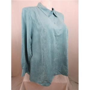 Catherines Size 2X Aqua Faux Suede Long Sleeve Buttonfront Top