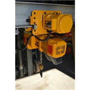Harrington 1 Ton Hoist ER1A with MR1A Electric Trolly, 460V, ER010L, 7' Chain